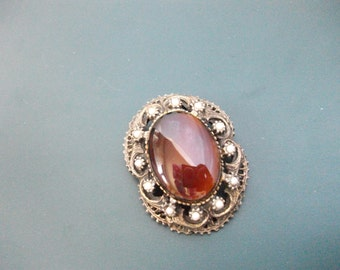 Vintage Amber Cabochon With Faux Pearls Pendant & Brooch Pin