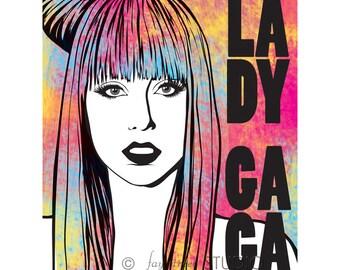 Lady Gaga Poster Art Print, 8x10