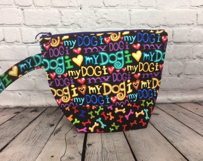 I Love My Dog w/ Full length pocket, Knitting project bag, Crochet project bag,  Zipper Project Bag, Yarn bowl