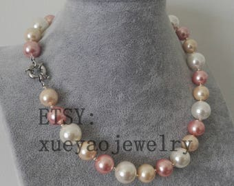 shell pearl necklace, 12-14 mm white pink purple multi-color shell pearl necklace