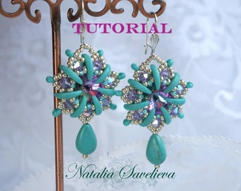 Beading Tutorial, Asterisk Turquoise Earrings, Jewelry Tutorial,  Bead Pattern PDF, Instant Download.