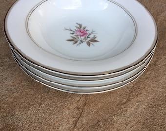 Vintage Noritake China Soup Bowls Set of 4 Roanne Pattern Floral Design