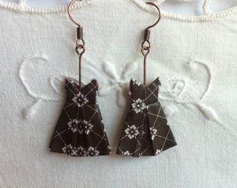 Earrings small dresses origami - origami earrings - origami jewelry - unique jewelry