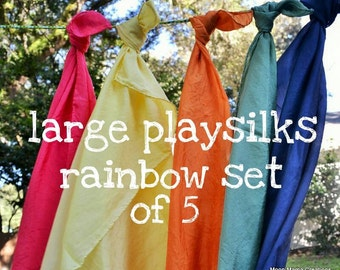 Playsilks, Rainbow Set of Five Waldorf Inspired Large Play Silks, 35 x 35. Natural Toy, Open Ended Play, Dress Up, Montessori