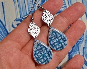 Portugal blue tile earrings, stainless steel Viana heart, azulejo, Portugal heritage, Portuguese gift, Portuguese wedding souvenir, mom gift