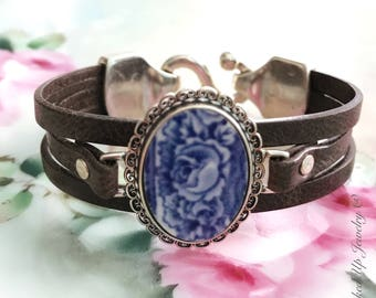 Broken China Jewelry. Brown Leather Bracelet with Blue and White broken China, Sterling Silver Setting, Rose