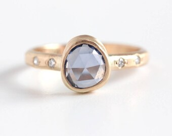 Rose Cut Blue Sapphire Ring and Diamond Accented Band in 14k Gold - Free Form Natural Sapphire
