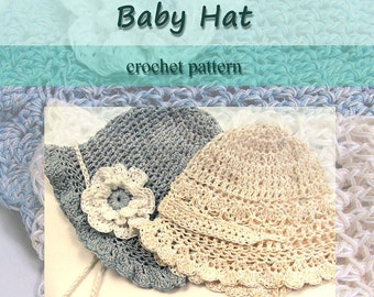 Baby Hat Crochet PATTERN - Fast Cotton Thread CROCHET PATTERN Baby Cap Three Sizes with Flower, permission