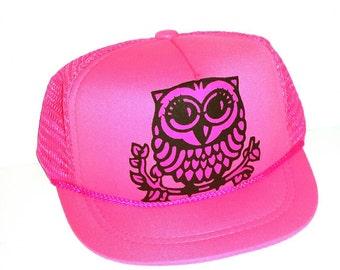 Owl Baby Sized Mesh Trucker Hat Cap Newborn Infant