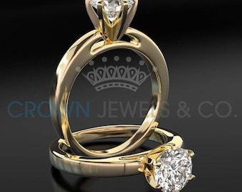 Diamond Engagement Ring 3 Carat Round Brilliant Cut H VVS2 Women Solitaire Ring 18 Karat Yellow Gold