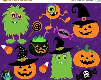 75% OFF SALE Halloween Clipart, Monster Clipart, Digital Clipart, Commercial Use - UZ1018