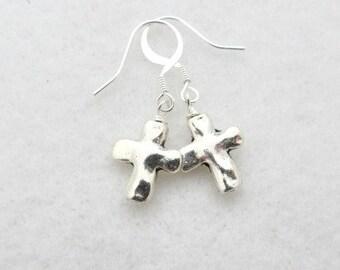 Earrings Silver Rustic Cross Earrings Cross Earrings Silver Earrings Religious Easter Earrings