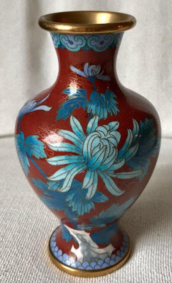 Beautiful Chinese Cloisonne Vase Bronze Brass Copper Enamel