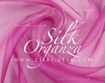Shocking Pink Organza silk tulle fabric by the yard