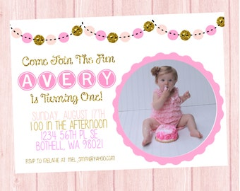 Pink and Gold Birthday Invitation, Pink & Gold Birthday Invite, First Birthday Invitation, Polka Dot Birthday Invite, First Birthday Invite