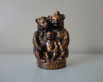 VINTAGE metal 3 three BEARS coin BANK - bosh metal products inc. - copper tone bear bank - mid century bank