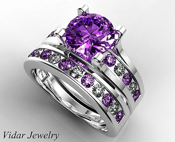 Amethyst Wedding Ring SetUnique Wedding Ring SetPurple