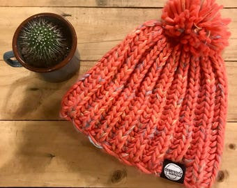 dewerstone Chunky Knitted Beanie Limited Edition Peach