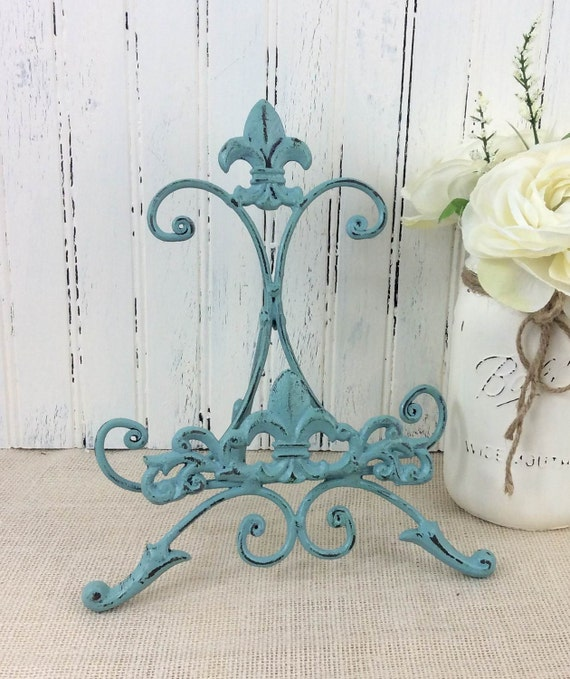 Cast Iron Fleur De Lis Metal Easel , Painted Table Top Easel, Photo Display,  Sign Holder, Book U0026cookbook Stand, Cottage Chic, French Country From ...