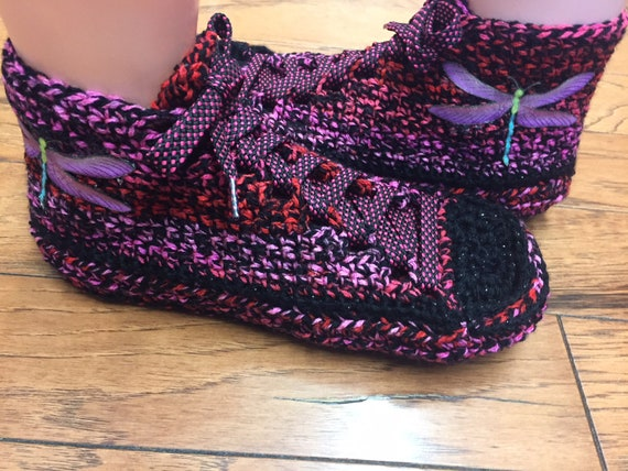 Listing black slippers Womens Crocheted slippers sneakers shoe 324 tennis slippers sneakers 8 crocheted dragonfly sneaker 10 dragonfly pink wqqXantH
