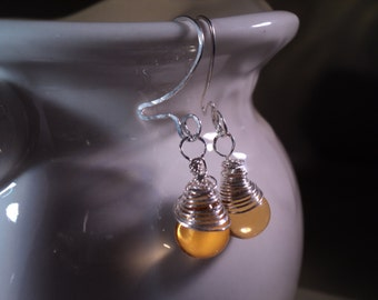 Enveloppé de vente Sterling boucles d'oreilles Citrine pierres précieuses Lemon Drop Wire Wrap Dangle Earrings //November Birthstone