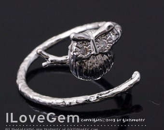 NP-1629 Rhodium Plated, Owl, Adjustable ring, 1pc