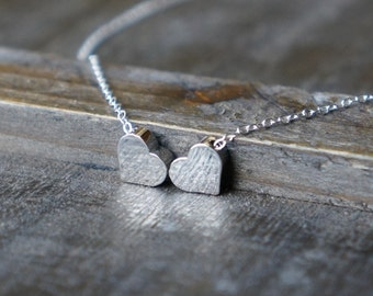 Two Hearts Necklace  / Tiny Silver Heart Pendants on Sterling Silver Chain / Sweet Hearts ... can be personalized with initials
