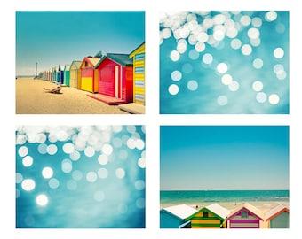 nautical decor beach photography print set 8x10 8x12 fine art photography ocean beach houses photography melbourne print teal art prints