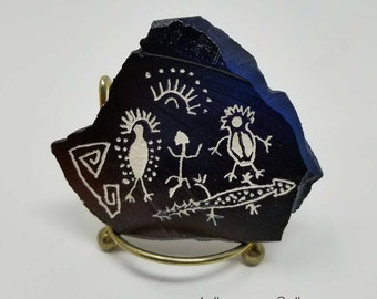 "3""x 4"" Petroglyph Replica Rock Art Hand Crafted by Local Texas Artist"