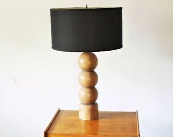Mid Century Modern Cerused Oak Table Lamp, Mcm Lamp, Vintage Modern Table Lamp, Vintage Stacking Balls Lamp, Cerused Wood Lamp, Limed Wood