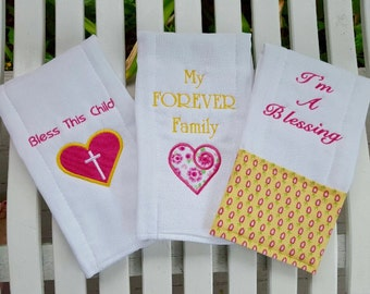 Adoption Baby Girl Burp Cloths !