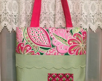 Spring Summer Beaded Pink and Green Print Tote Hand Bag Chic Design Sturdy Heavy Duty Handbag New USA