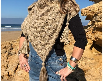 Sea Shells Shawl (or Scarf)  by Surfcoast Boho, Camel Colour Alpaca Blend Yarn, Winter Weight