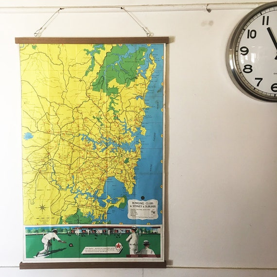 Awesome 1960's vintage framed map