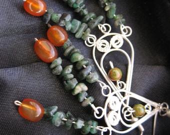 Gemstone & Silver Scrollwork Chandelier Earrings - Emerald Chips, Carnelian Nuggets, Unakite Beads on Sterling Silver Filigree Teardrops