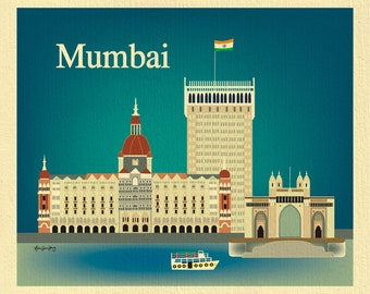 SALE Mumbai 8x10 Print, India Travel Poster, Gateway of Mumbai Print, Indian Wall Art Gift, Loose Petals City Print horizontal - E8-O-MUM
