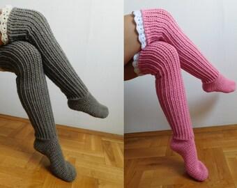 CROCHET PATTERN Knee Socks, Over the knee socks, Knee high socks with lace tops, PDF , Instant download N.201
