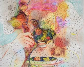 Illustrated art print, Porcelain Cup
