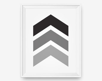 SALE Chevrons Wall Art, Black and White , Greyscale - Digital Download - Printable Art