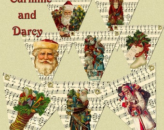 Christmas flags, bunting, pennants, Victorian, vintage, collage, digital download, printable