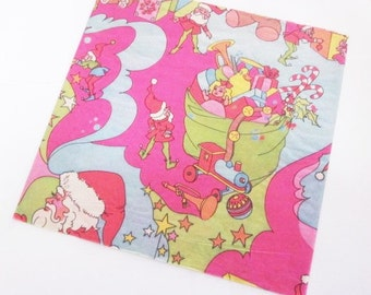 Vintage Wrapping Paper - Busy Elf Christmas - Full Sheet Pink Xmas Gift Wrap - Santa Claus Father Christmas