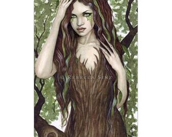 Hamadryad ACEO Print Artist Trading Cards ATC Fantasy Art Dryad Tree Nymph