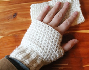 White - Fingerless Gloves