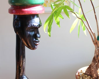 Tall Jamaican Bust - Vintage Wood Carving