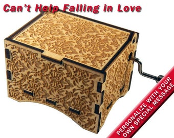 """Music Box, """"Can't Help Falling In Love"""", Laser Engraved Wood Hand Crank Music Box"""