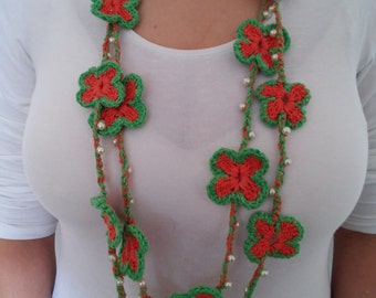 handmade crochet necklace, flowers necklace, crochet necklace, necklace, crochet jewelry, crochet
