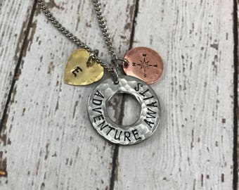 Graduation Gift - Adventure Awaits - Compass - Initial - Hand-Stamped Charm Necklace - Graduation Necklace