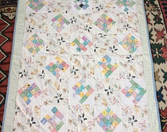 VINTAGE CRIB QUILT baby blanket, pieced novelty prints 40s, bambi, animals, mid century sewing