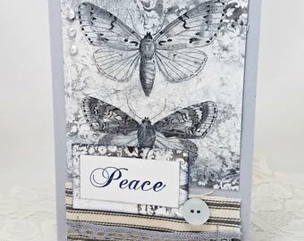Blue and Silver Peace Card - Blue and Silver Holiday Card - Blue and Silver Christmas Card - Blue and Silver Butterfly Card - Rustic Card