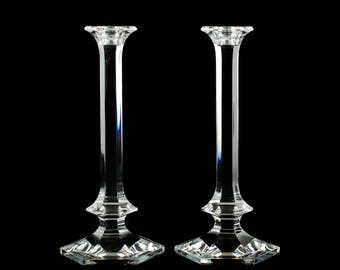 "Vintage Val St Lambert 11.25"" Lead Crystal Candle Holders Elysee Pattern"